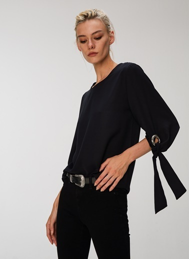 People By Fabrika Bağlamalı Bluz Siyah